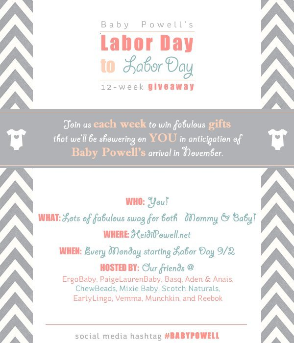 Baby Powell's Labor Day to Labor Day 12-week Giveaway - Learn more at https://heidipowell.net/3321