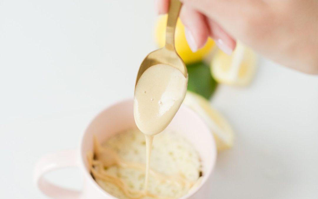Lemon Poppy Seed Mug Cake with Lemon Protein Glaze