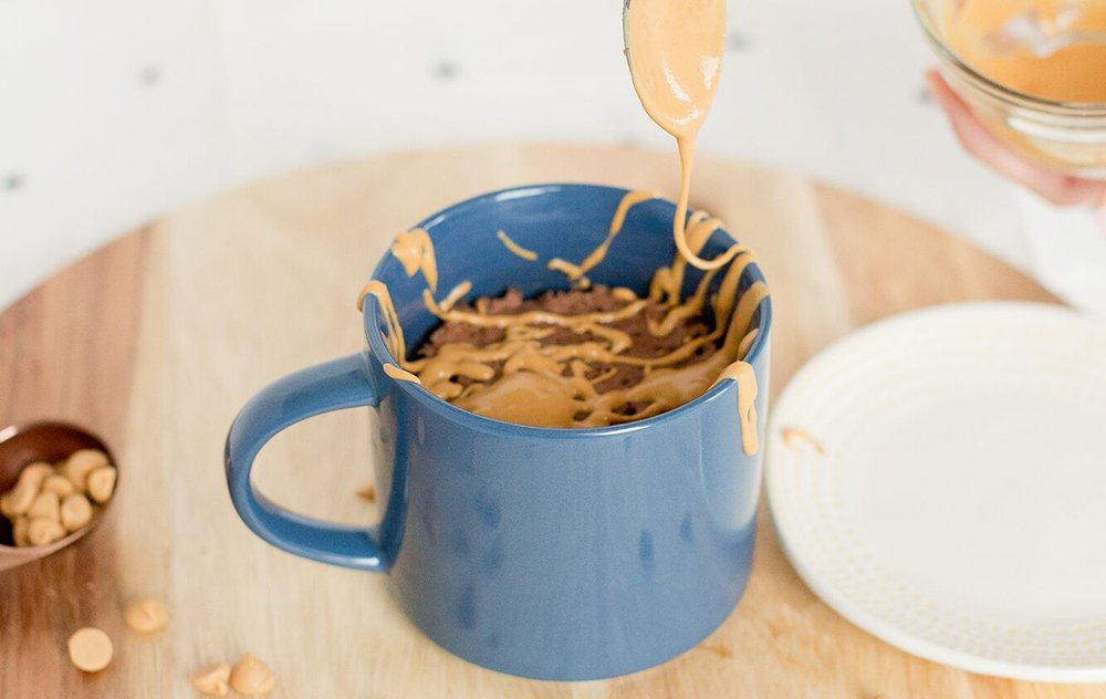 Devil's Food with Peanut Butter Drizzle Mug Cake