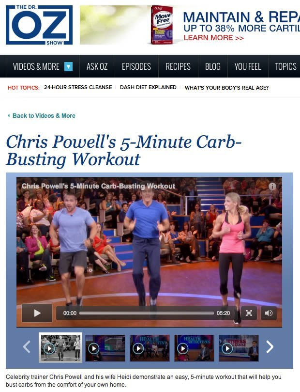 5 Minute Carb Busting Workout from #ChrisPowell & #HeidiPowell #QuickWorkout #CarbBustingWorkout Learn more at https://heidipowell.net/646