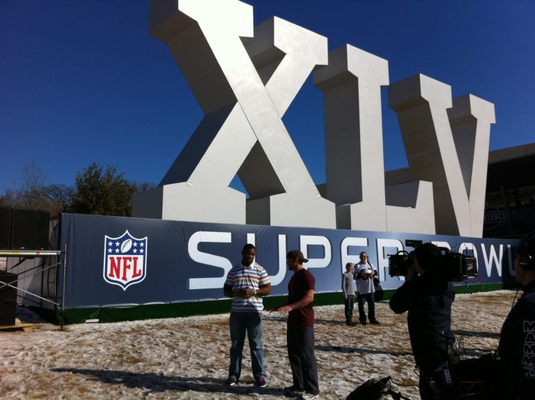 Hubby Chris Powell at SuperBowl XLV during the filming of Extreme Makeover: Weight Loss Edition