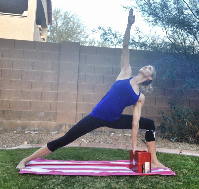 Heidi Powell enjoying a yoga workout with improvised tools