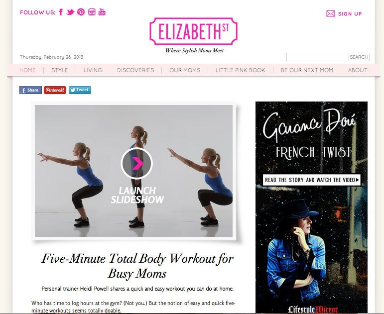 ElizabethStreet.com 5 Minute Workout - Learn more at http://HeidiPowell.net/665