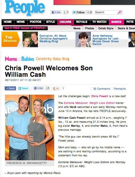 Announcing the birth of Cash Powell - son of Chris and Heidi Powell https://heidipowell.net/623