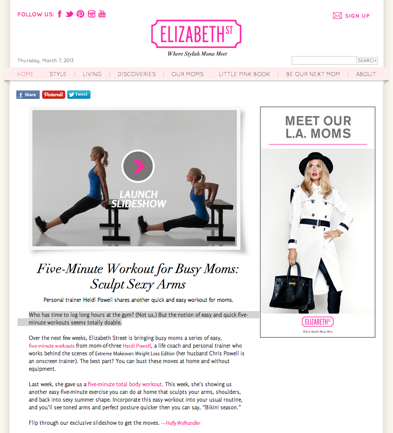 #HeidiPowell #QuickWorkout for #BusyMoms #SculptSexyArms #5MinuteWorkout - Learn more at https://heidipowell.net/751