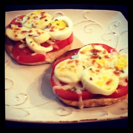 Gluten-Free English Muffin Egg Pizzas - Get the recipe at http://HeidiPowell.net/1039