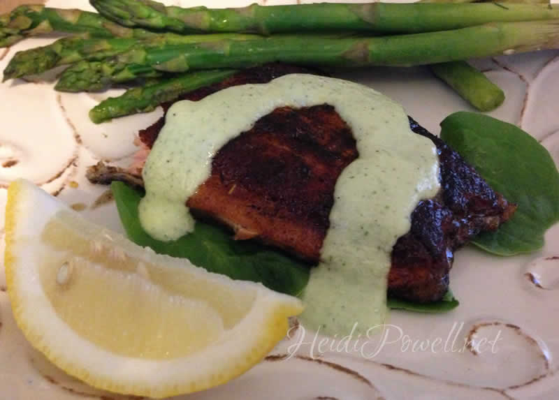 Blackened Salmon with Cucumber Dill Sauce - Get the recipe at http://HeidiPowell.net/2873