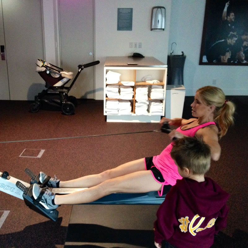 500 meter row (with Baby Ruby in the background!)