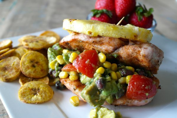 Honey Lime Grilled Chicken + Plantain Chips w/ Black Bean Avocado Dip
