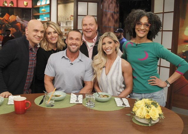 THE CHEW - 1/5/16 Daphne Oz returns from her maternity leave and Chris Powell is the guest today on THE CHEW, airing MONDAY - FRIDAY (1-2pm, ET) on the ABC Television Network. (ABC/ Lou Rocco) MICHAEL SYMONE, DAPHNE OZ, CHRIS POWELL, MARIO BATALI, HEIDI POWELL, CARLA HALL