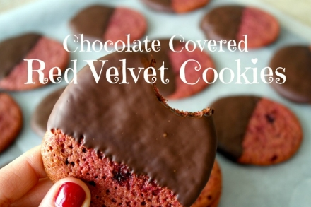 Valentine's Day Chocolate Covered Red Velvet Cookies